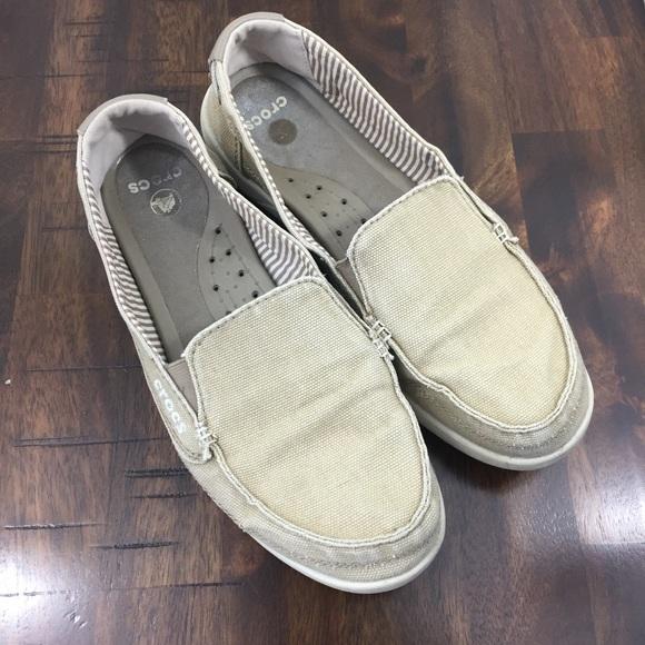 super cheap release date newest CROCS Shoes   Womens Walu Canvas Khaki Loafers   Poshmark